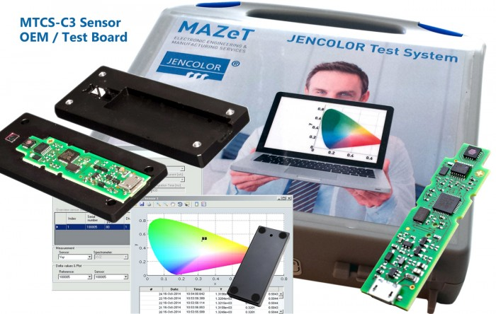 The OEM Sensor Baord MTCS-C3 with USB interface for color measurements based on CIE1931 can be used as stand-alone USB color sensor. Customers can simply place it into their own environment and casing to implement the system as customer-specific colorimeter. The system is prepared for customer calibration and can be delivered directly with specific presets from MAZeT.Photo by MAZeT GmbH