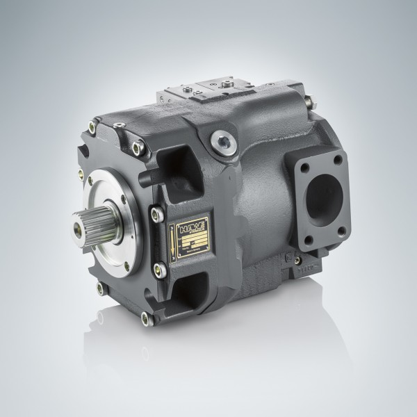 With the V80M axial piston pump, the controller remains in the pump contour and takes up no additional spacePhoto by HAWE Hydraulik SE