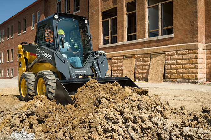 New Grading-Heel Buckets and the new Small-Frame G-Series skid steers and compact track loader are ideal for customers performing final grading applications.Photo by John Deere International GmbH