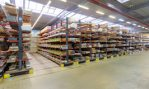 mobile cantilever racking system from OHRA. Nine movable rows of racks, 18.4 meters in length and 6.36 meters in height