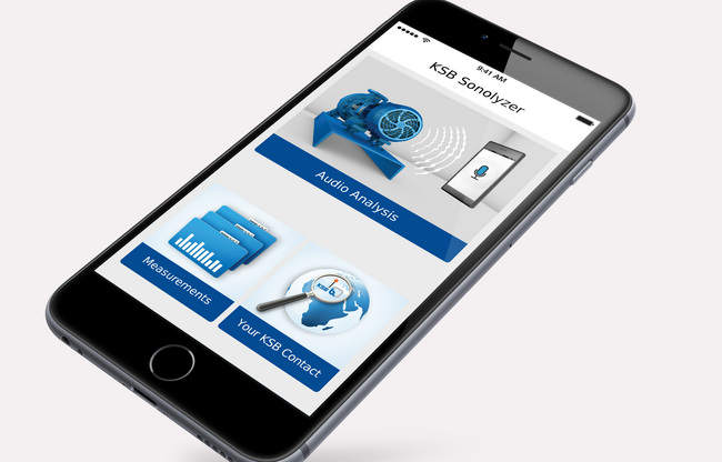 The KSB Sonolyzer mobile app allows users to analyse the efficiency of fixed-speed pumps with asynchronous motors in just 20 seconds.Photo by KSB Aktiengesellschaft